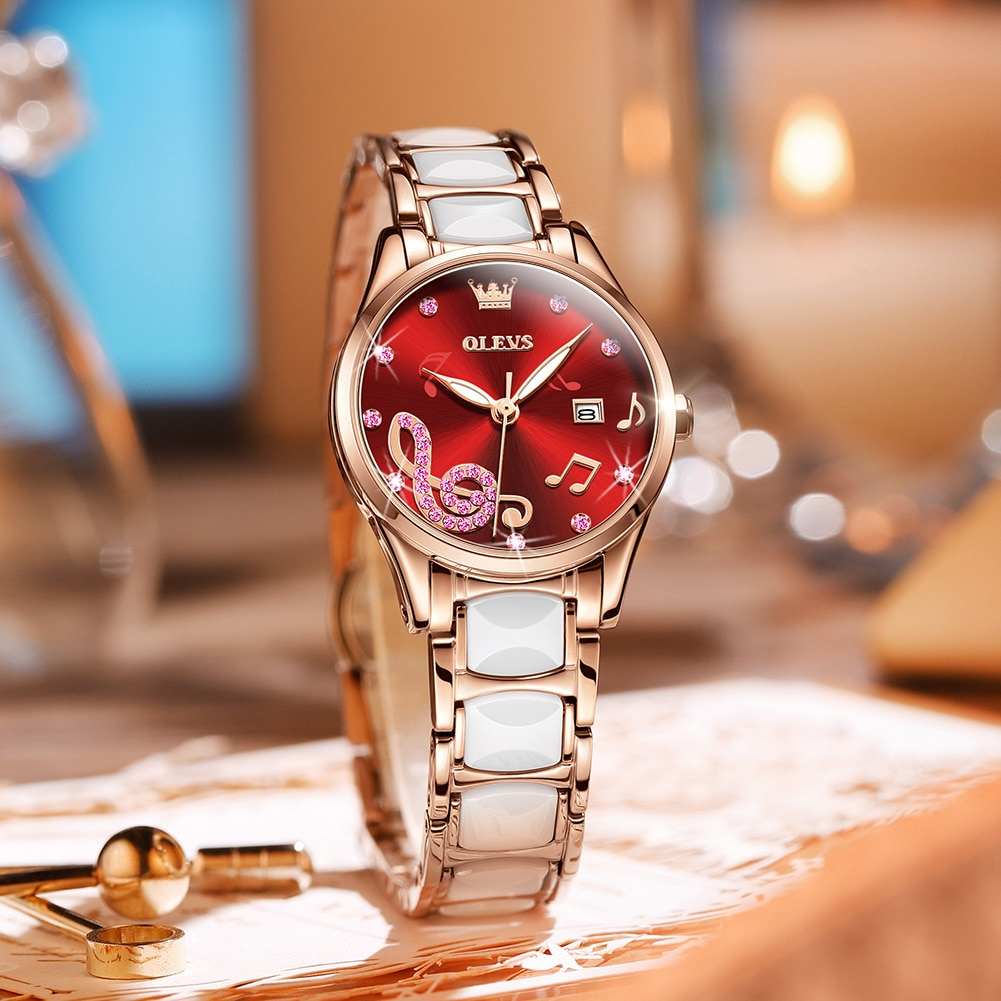 OLEVS Brand Watch Fashion Diamond Watch Ceramic Quartz Watch Waterproof Watch Women's Watch enlarge