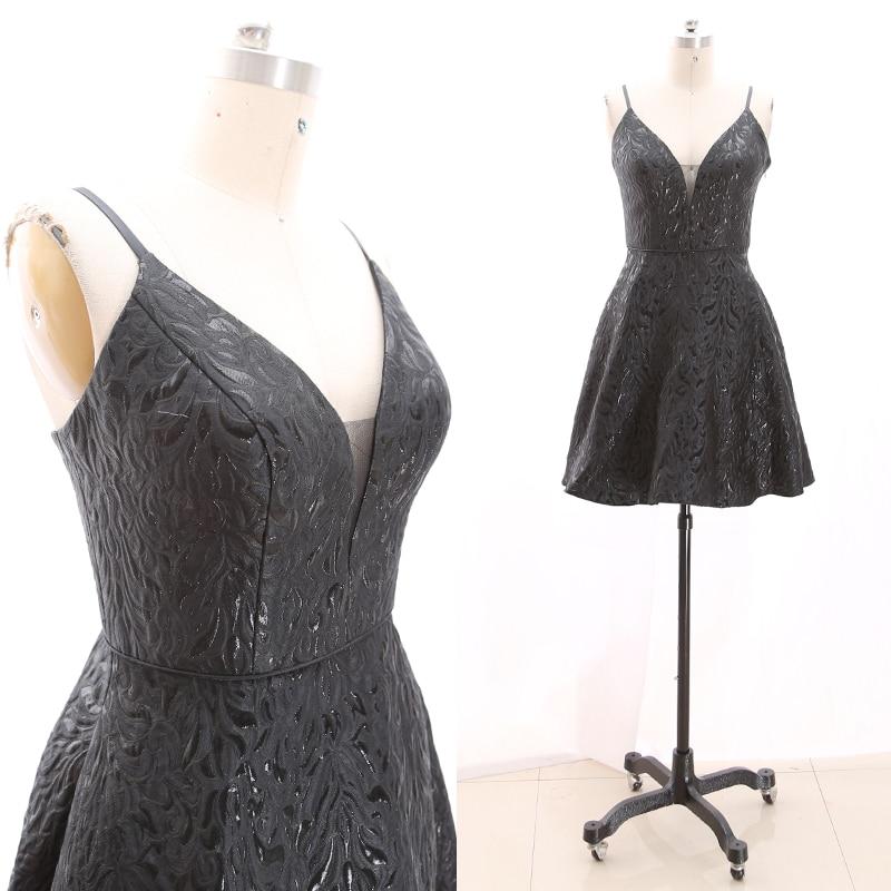 MACloth Black Short Strap Knee-Length Short  Satin Prom Dresses Dress M 268905 Clearance