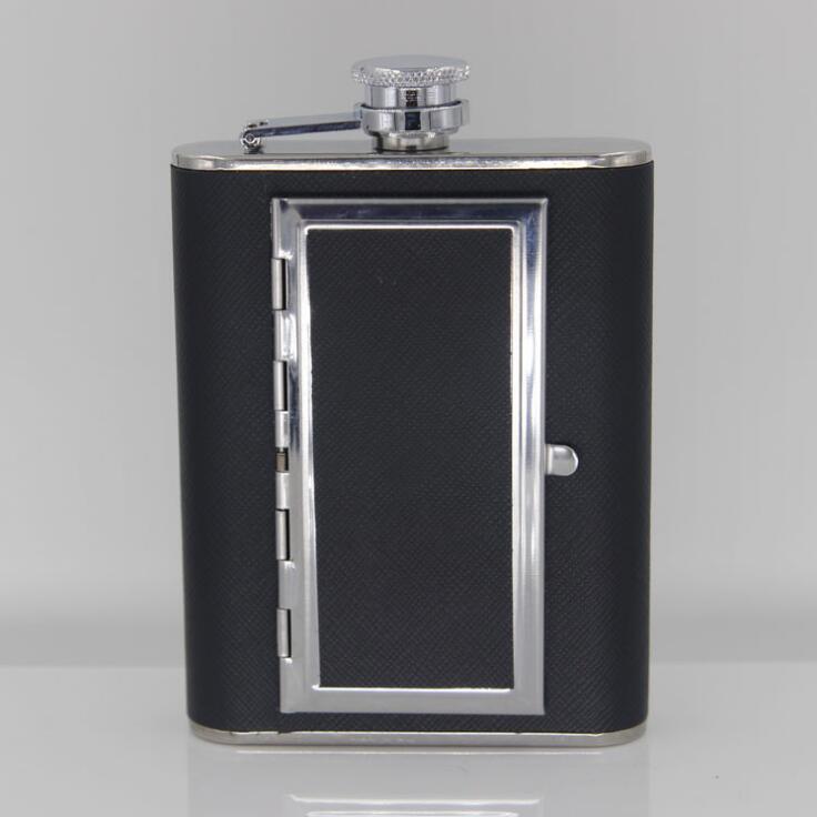 Caja de cigarrillos creativa, 6oz, 5oz, frasco de whisky de acero inoxidable a la cadera, botella de licor, cuero negro de PU con embudo, para el hogar, deportes al aire libre