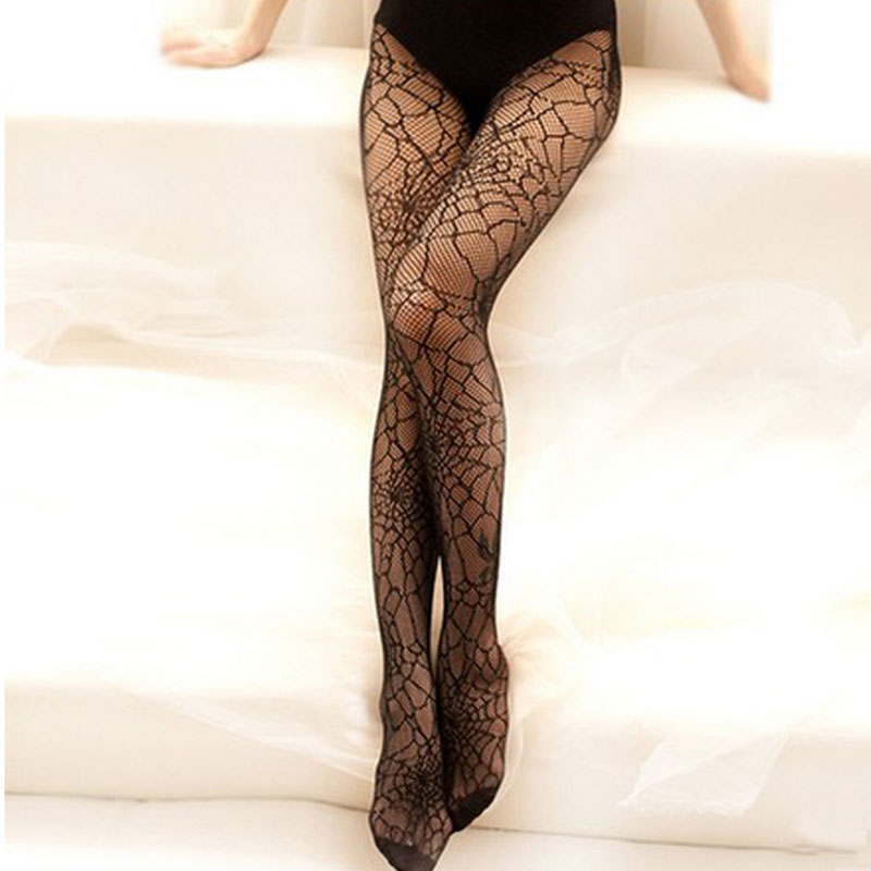 Women Pantyhose Spring Thin Stockings Tights Sheer Elastic Spider Web Net Hosiery Long Socks Lace Top Ladies Girls Stockings-35