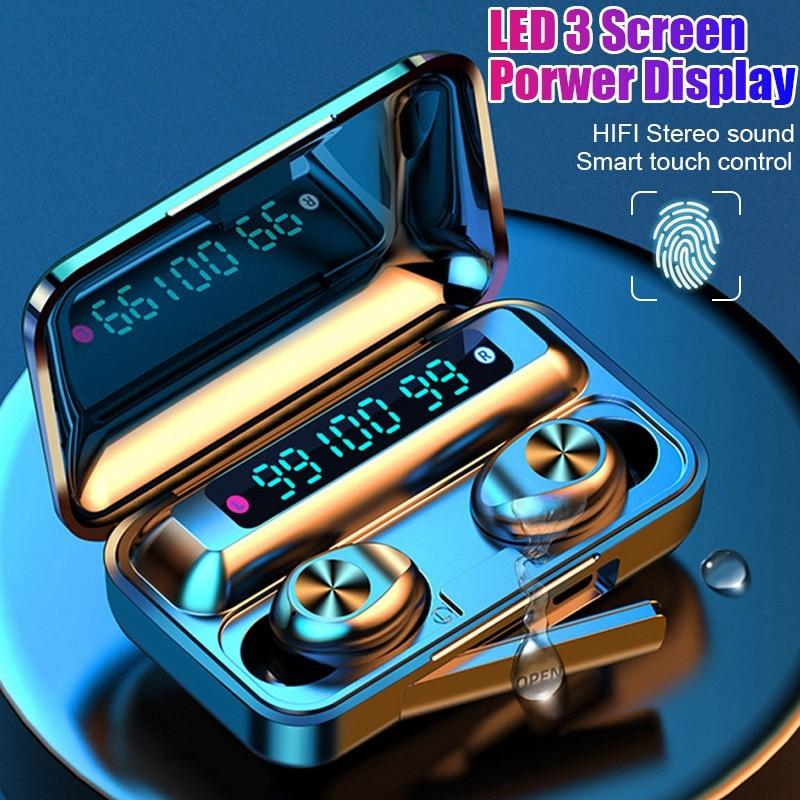Беспроводные Bluetooth наушники F9-9 TWS, 9D стерео гарнитура с сенсорным управлением, спортивные наушники с микрофоном, водонепроницаемые наушники...
