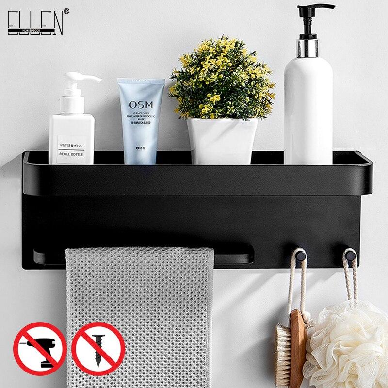 Bathroom Black Bath Shelves Shelf Organizer Nail-free Shampoo Holder Kitchen Storage Shelf with Rack EL531