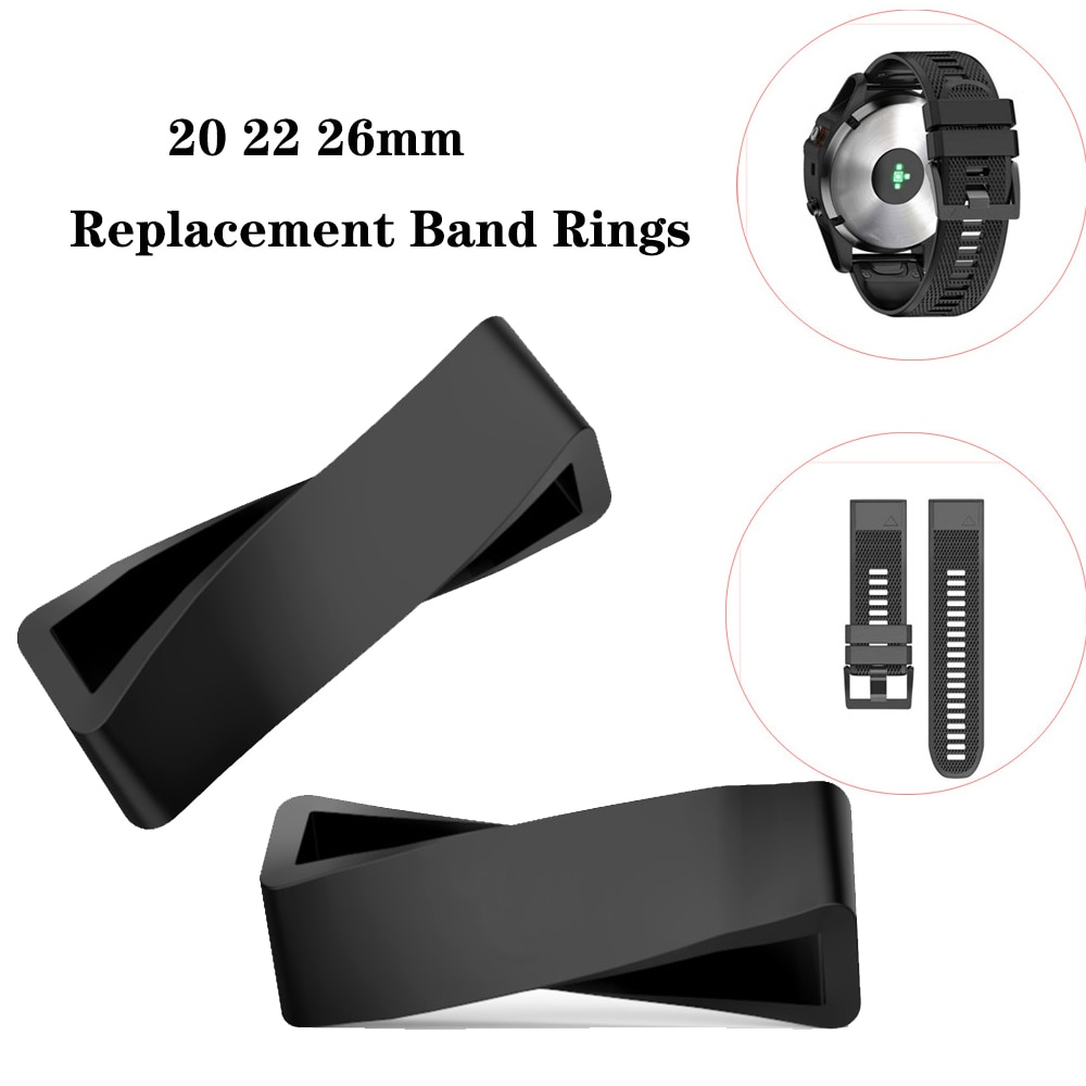 20mm 22mm Soft Silicone Rings for Garmin Fenix 5s 5 plus Retaining keeper accessories loop hoop Blac