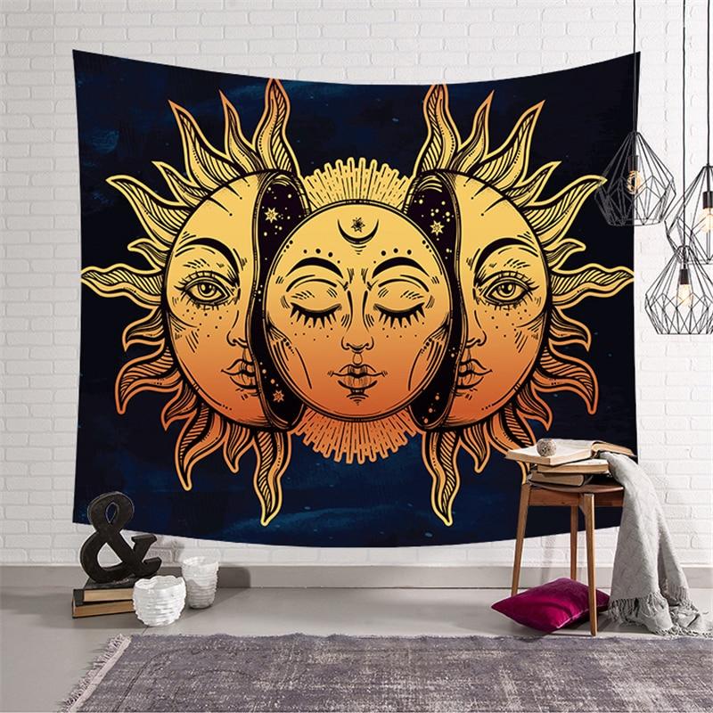 Sol Luna tapiz Mandala tapiz colgante de pared mapa psicodélico alfombra Ouija tapices de pared tela de poliéster alfombra de tela de pared
