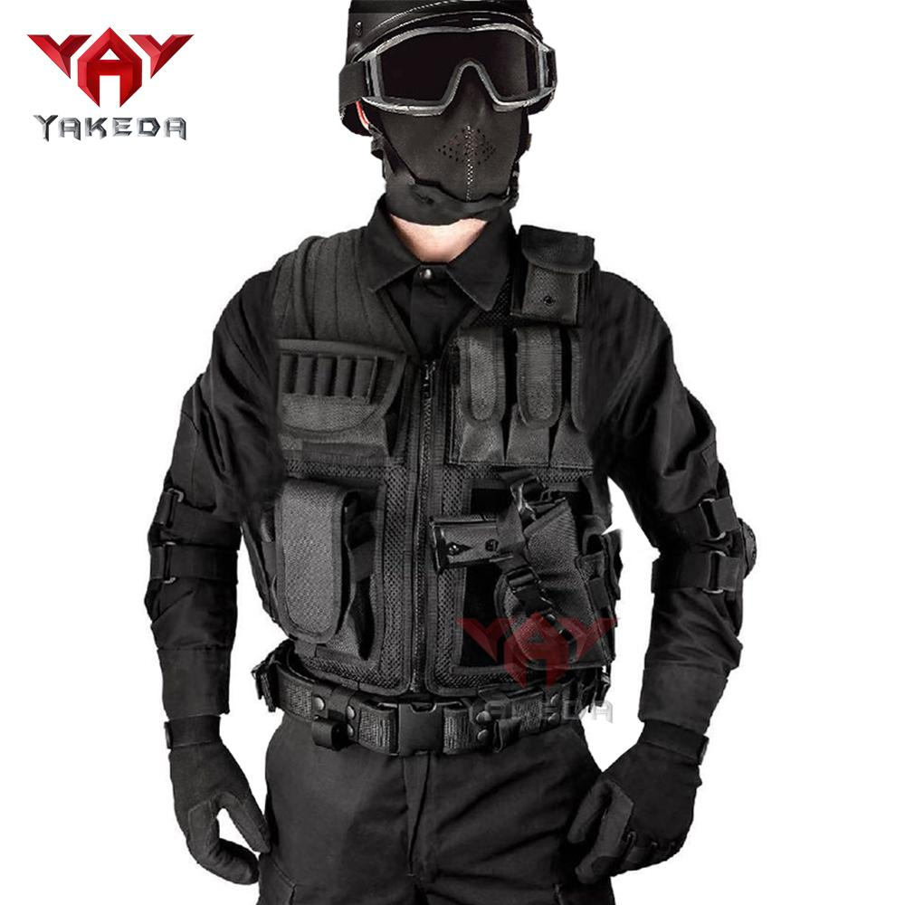 YAKEDA Police Uniform Military Tactical Vest Wargame Body Protective Equipment Army Fan CS Outdoor Sports Fighting Clothing