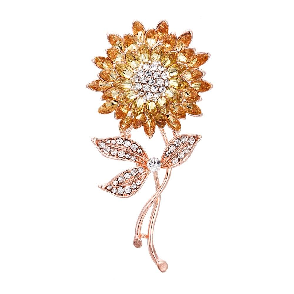 Broches JUJIE de girasol a la moda para mujer 2020, broche con flor de cristal, Pins para hombres, joyería de plantas, Dropshipping