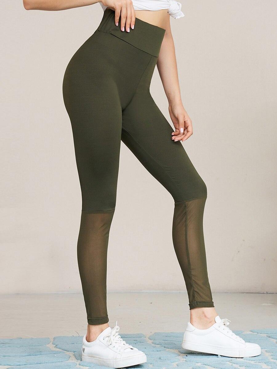 Mesh Stitching Elastic Waist Slim Fit Leggings