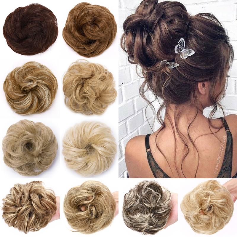 BENEHAIR Scrunchy Hair Bun Messy Women Chignon Curly Synthetic Extenison Updo Donut Hairpieces Fake Piece