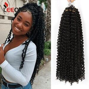 Leeons Passion Twist Hair 6 Packs 22 Inch Crochet Hair Black Color Crochet Braids Synthetic Hair Extensions For Black Women