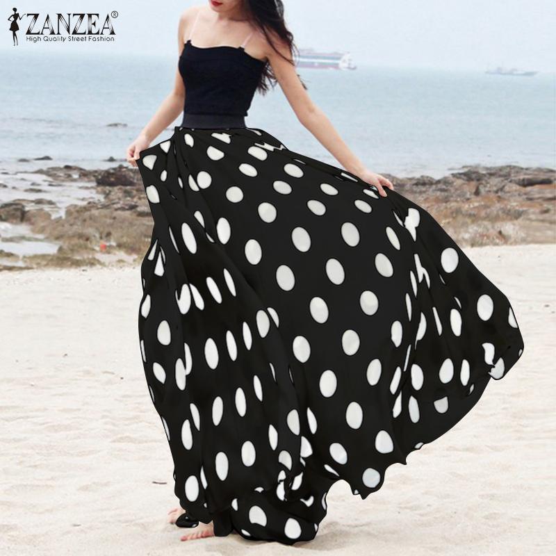 Plus Size 2020 ZANZEA Polka Dot Printed Long Skirts Casual Baggy Faldas Skirt Summer Women Retro Ladies Bohemian Jupe Femme 5XL