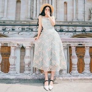2019 Brand New Women Dress Embroidered Flower Lace Dress Bowtie Strappy-backless Slim Long Dress Green Fairy Dress Vestidos