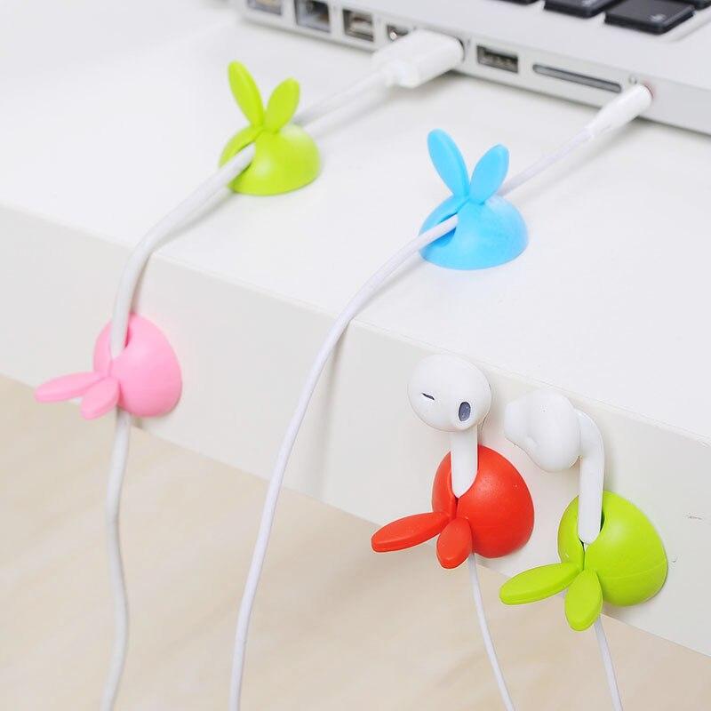 4pcs Rabbit Shaped Cable Winder Desktop Cable Organizer Home Office Storage Wire Clip Office Supplies Desk Accessories