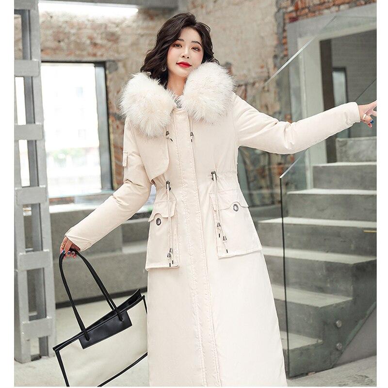 пальто женское Новинка 2021, хлопковая Утепленная зимняя куртка, пальто, женская Повседневная парка, зимняя одежда, парка с капюшоном и мехово...