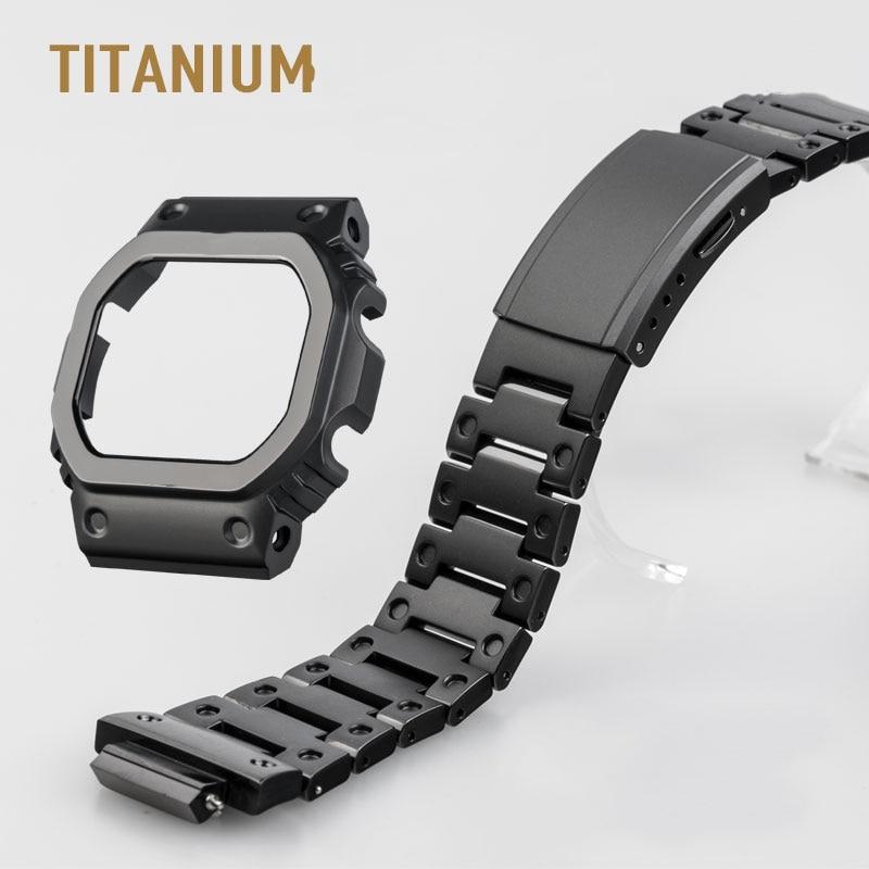 أسود التيتانيوم Watchbands والحافة ل DW5000 GM-W5610 GW5000 DW5035 ووتش مجموعة مربط الساعة الحافة/حالة المعادن حزام مع أدوات