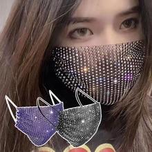 Maschera di strass lucida decorazioni per il viso gioielli Bling maschere elastiche per gioielli di moda con viso Bandana Party Halloween Cosplay маска