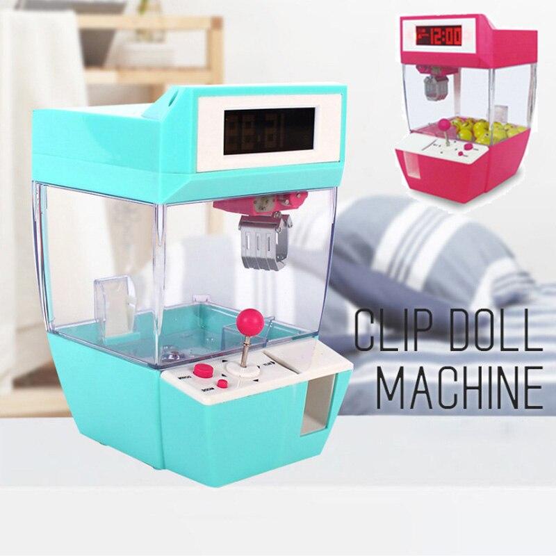 1 unidades/pacote casa decoração boneca máquinas crianças despertador jogo guindaste grabber brinquedo dos desenhos animados mini garra máquina