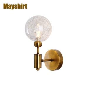 Nordic Vintage Gold Iron Glass Wall Lamps Creative Dining Room Living Room Decor Patio Wall Light Aisle Bathroom Light Fixture