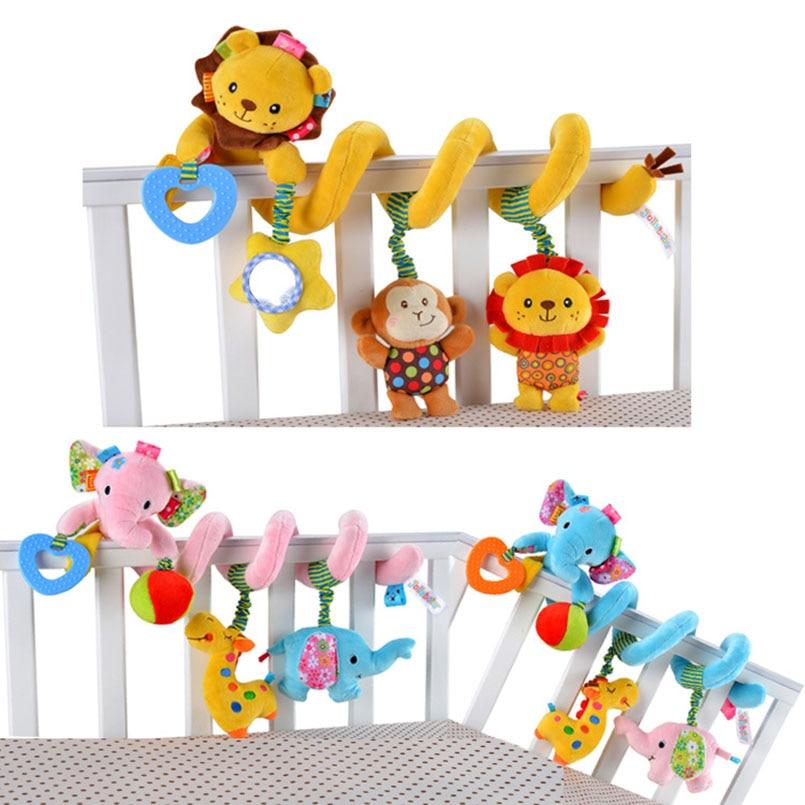 Развивающие игрушки для малышей, плюшевые погремушки для животных, мобиль для детской коляски, кроватки, спиральный подвесной игрушки для м...