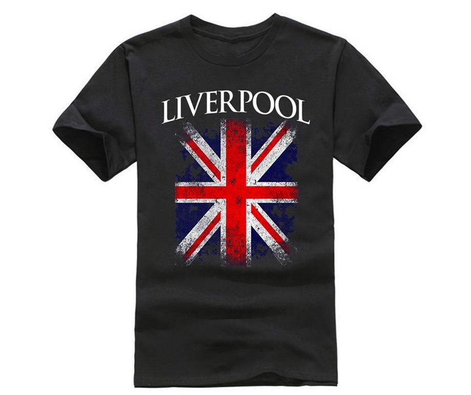 Ливерпуль Англия британский флаг Винтажная футболка для мужчин