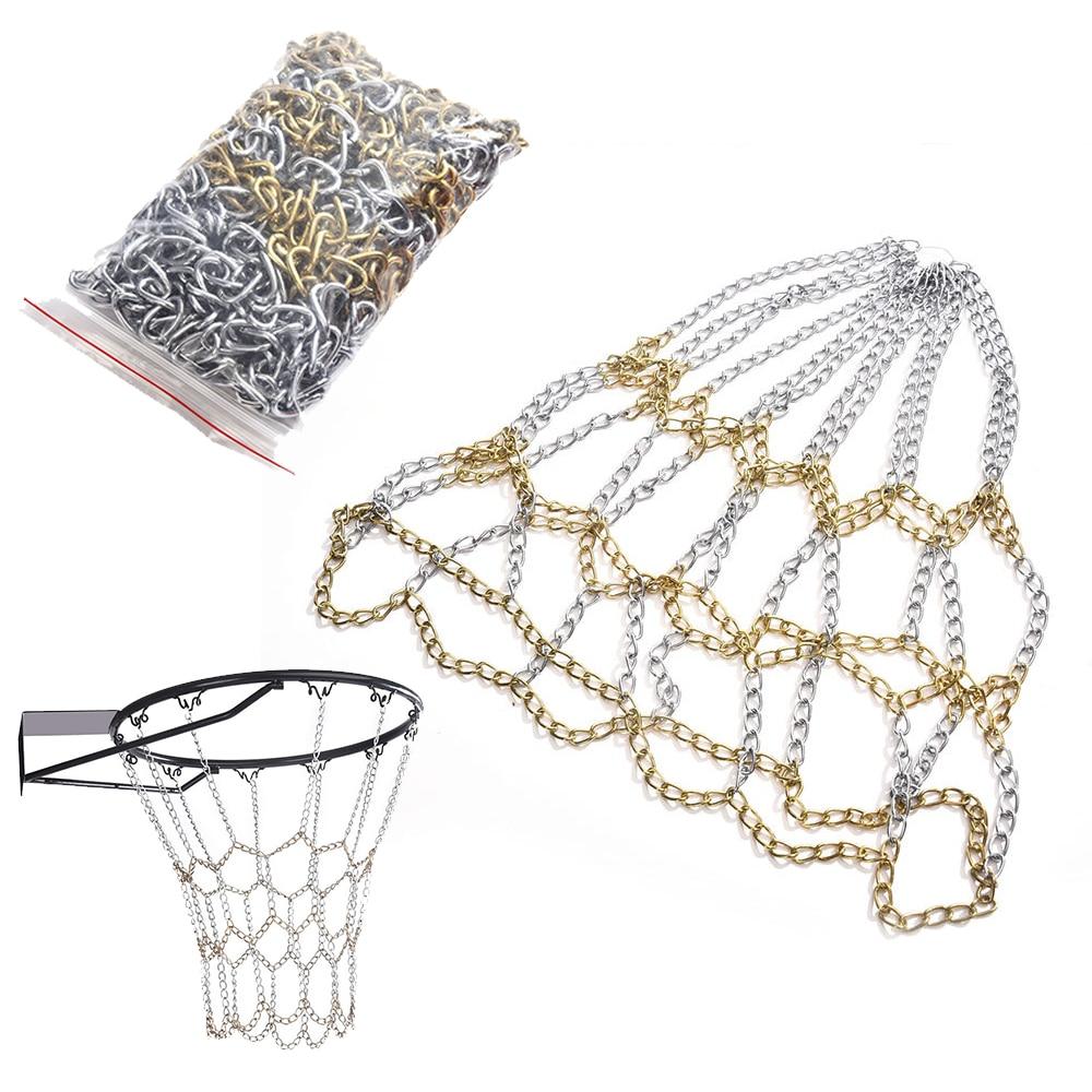DIY baloncesto red de hierro Bold Net Chain doble canasta de Color Heavy Net Chain Metal exterior baloncesto Net reemplazo