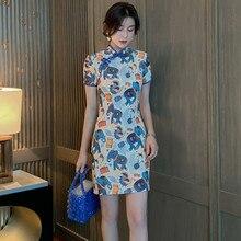 2020 nouvelle impression dames à manches courtes serré Qipao robe rétro femmes chinois traditionnel Harajuku robes dessin animé Kawaii robe mignonne