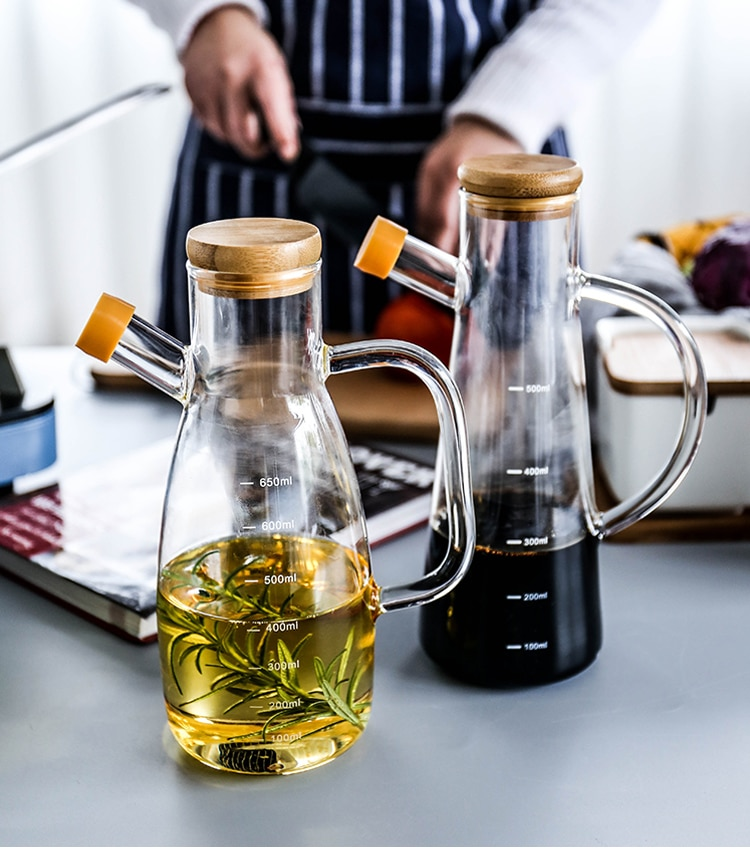 KINGLANG szklana butelka na olej z uchwytem skala żaroodporne narzędzia kuchenne Lecythus ocet sojowy z pojemnikiem na sos