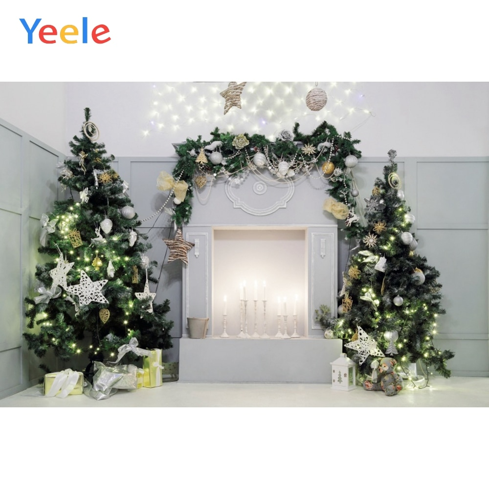 Yeele Christmas Tree Backdrops for Photography Fireplace Candle Baby Photo Booth Decor Backgrounds Props For Photocall
