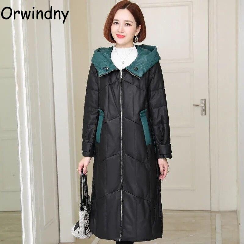 Orwindny معاطف طويلة للشتاء الأسود المرأة الشتاء سترات مقنع رشاقته الدافئة جاكيتات حجم كبير 4XL مقاوم للماء الثلوج ارتداء معطف