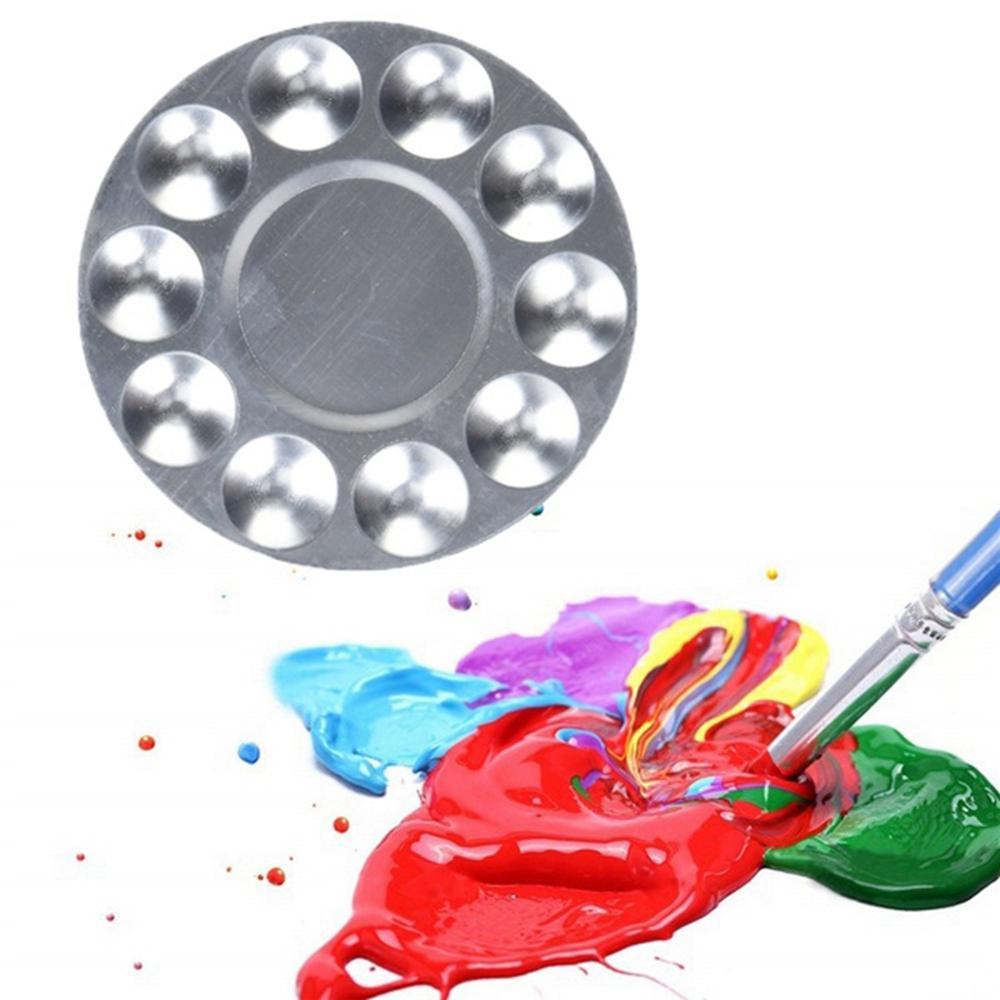 Artista redondo pintura paleta bandeja metal artista aquarelas pintura mistura paleta bandeja