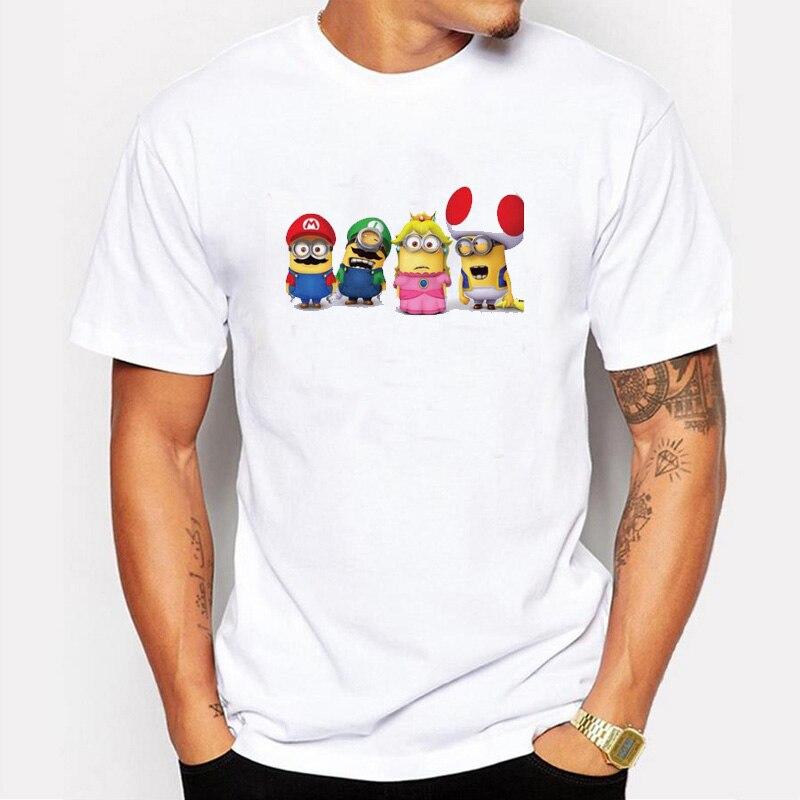Asian Size fashion super mario minions men t-shirt short sleeve casual funny tee cute Minions cartoon printed hipster tops