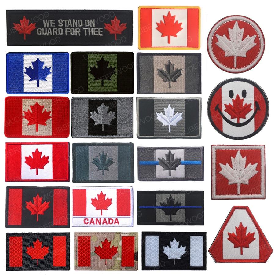 Parche de bandera bordado de LIBERWOOD Canadá hoja de arce canadiense insignia táctica moral Canadá Quebec apliques, parche emblema militar