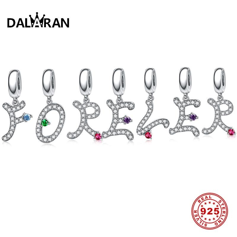DALARAN 925 Sterling Silver Letters Bead Fit Pandora Charms Silver 925 Original Bracelet Crystal A-Z Letter Charm DIY Jewelry