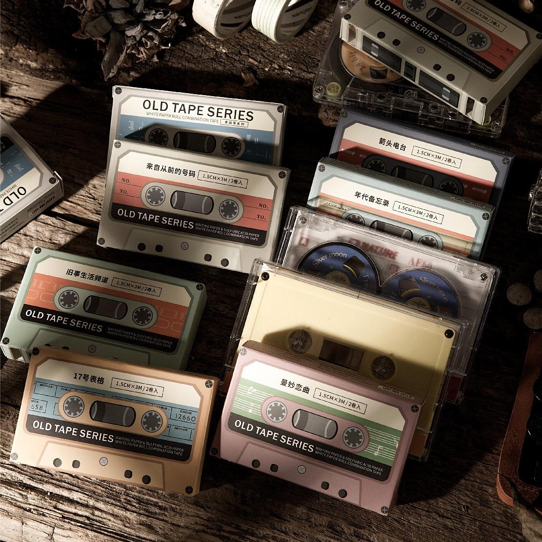 2 Rolls/set Vintage Washi Tape Set Creativity Magnetic Tape Set Shape Masking Tape Litmus Paper Material Retro Stationery