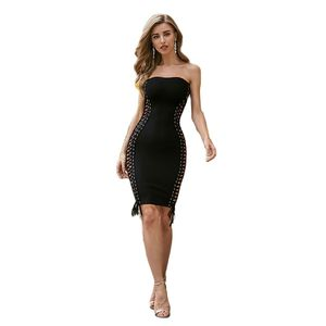 Sexy  Straples Out Bandage Dress Blue Black Apricot Backless Dresses Sleeveless Celebrity Party Club Vestido High Quality