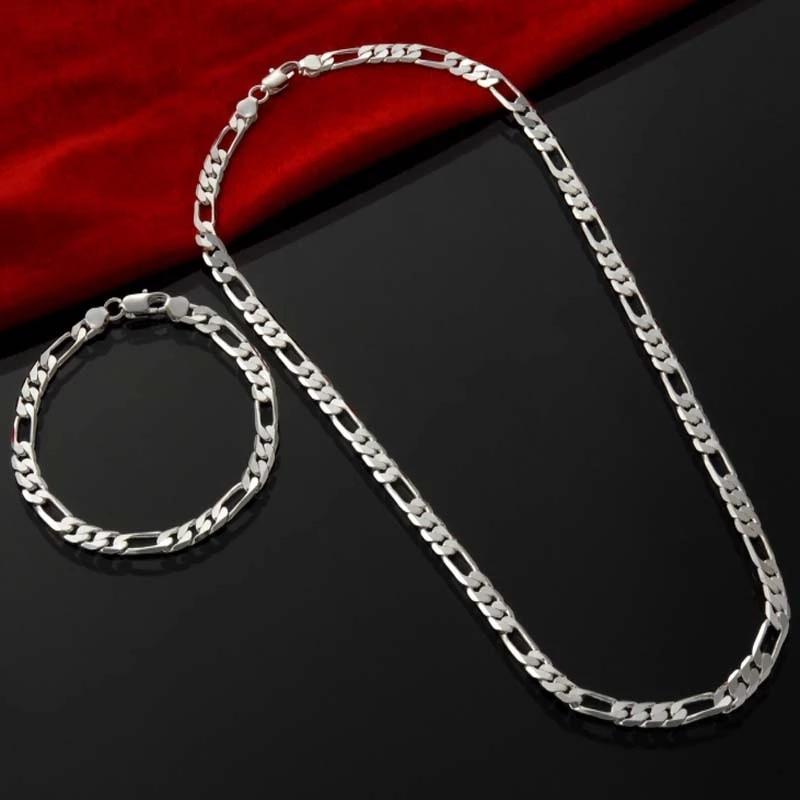 Цепочка-из-серебра-925-пробы-для-мужчин-и-женщин-ожерелье-с-браслетом-4-мм-Ювелирный-Комплект-рождественский-подарок-подвеска-для-свадьбы