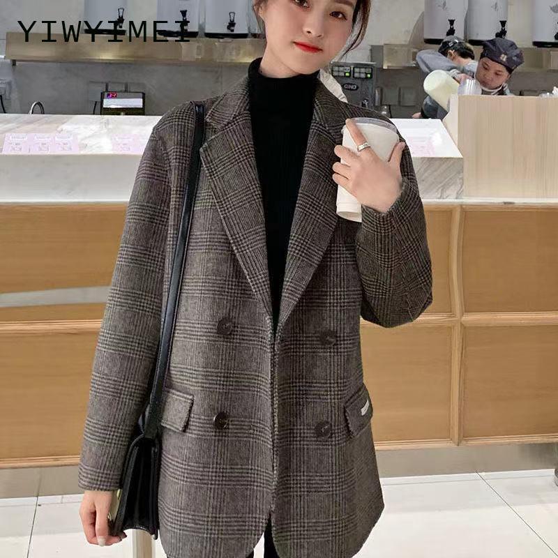 Autumn Vintage Double Breasted Office Ladies Plaid Blazer Longsleeve Loose Retro Suits Coat Jacket W