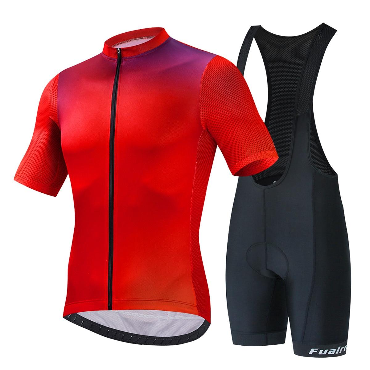 Fualrny pro conjunto camisa de ciclismo 100% poliéster mtb bicicleta roupas kit corrida roupas uniformes maillot ropa ciclismo