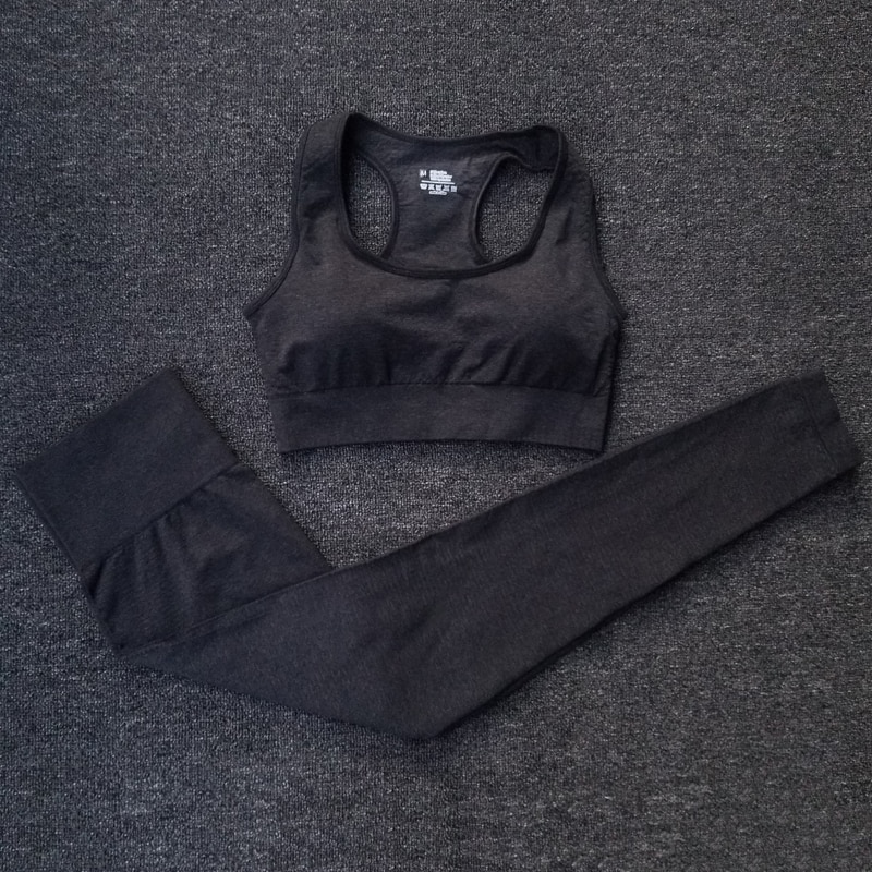 Seamless Yoga Set Sportswear Fitness Clothing For Women Workout Running Gym Leggings Yoga Pants Padded Sports Bras Sports Suits