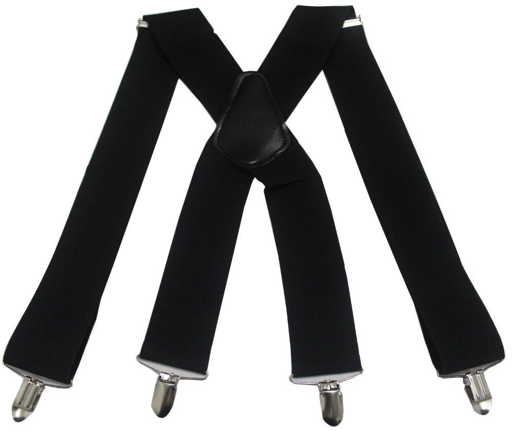4 Clips en forma de X tirantes para adulto Vintage para hombre cinturón negro tirantes 5cm ancho casual Camisa de alta calidad