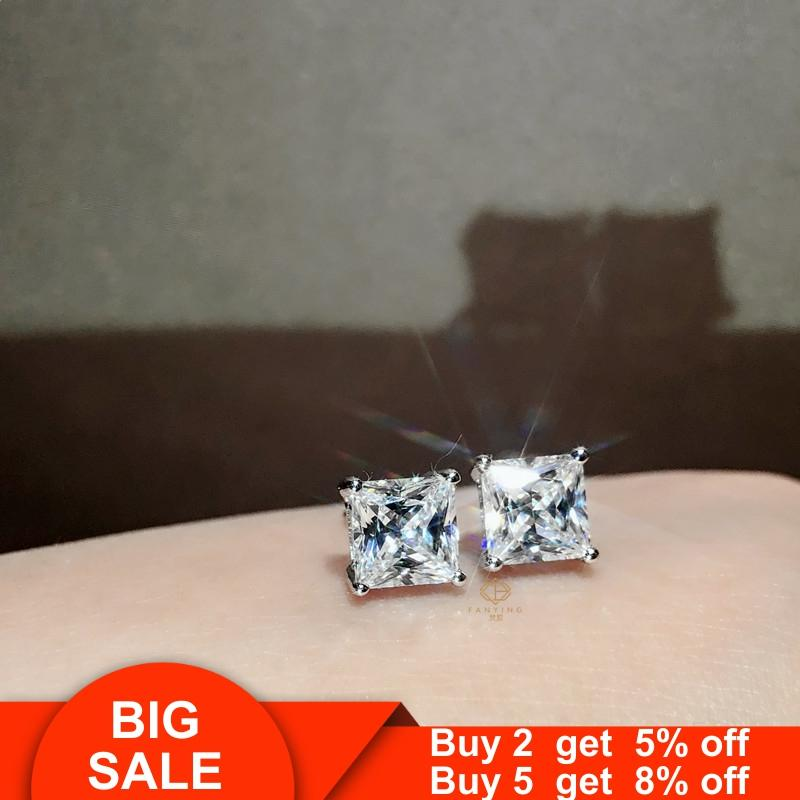 Solitaire 100% Real 925 sterling silver Earrring 5/6/7/8mm AAAAA Cz Charm Wedding Stud Earrings for women Bridal Party Jewelry
