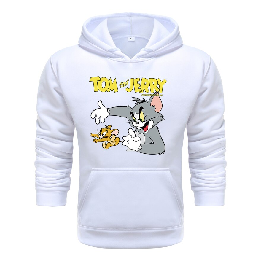 2021 new fashion spring autumn men hoodies printng cat mouse long sleeve hooded tops
