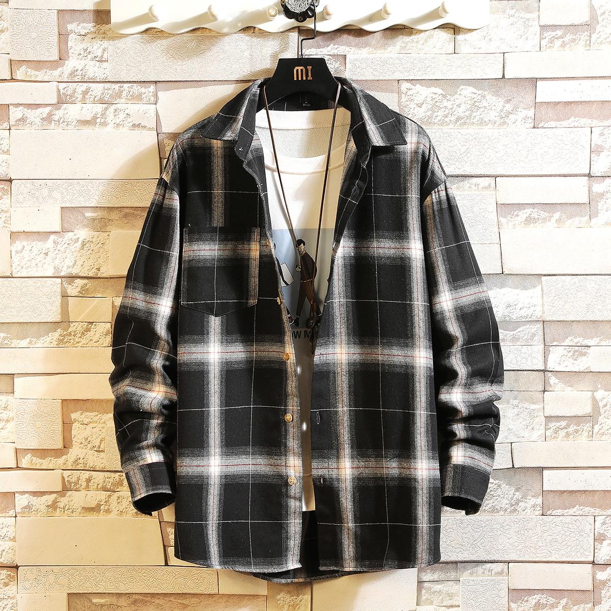 HIP HOP Streetwear Casual Oversize Plaid Flannel White Black Shirt Men Long Sleeve 2020 Loose Spring Autumn Korea Clothes