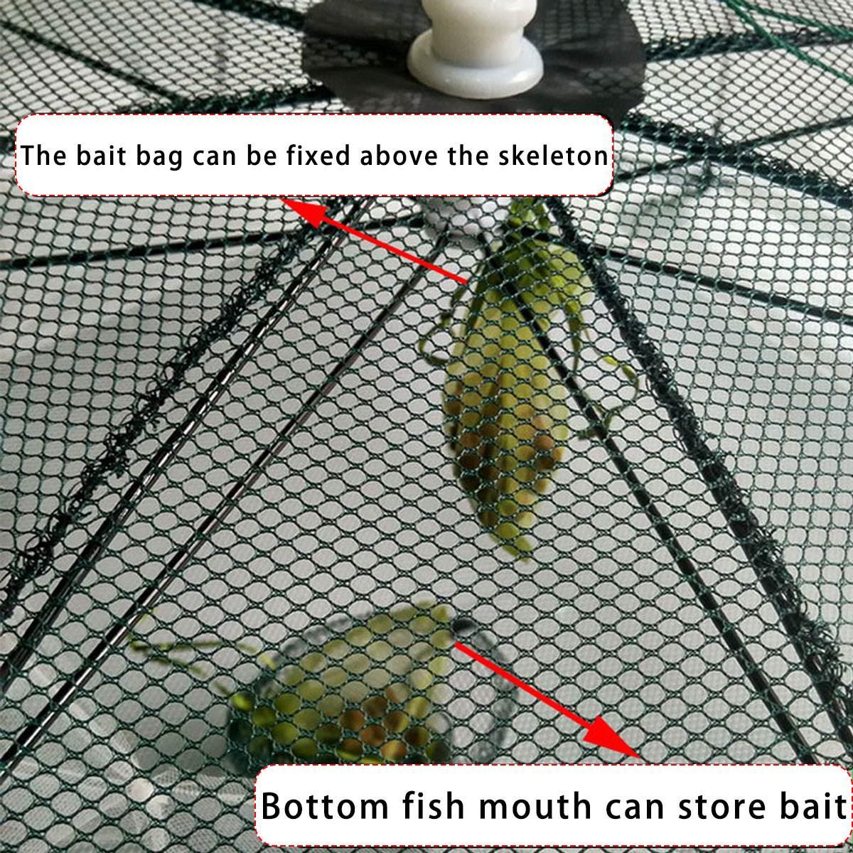 Strengthened 4-20 Holes Automatic Fishing Net Shrimp Cage Nylon Foldable Crab Fish Trap Cast Net Cast Folding Fishing Network enlarge