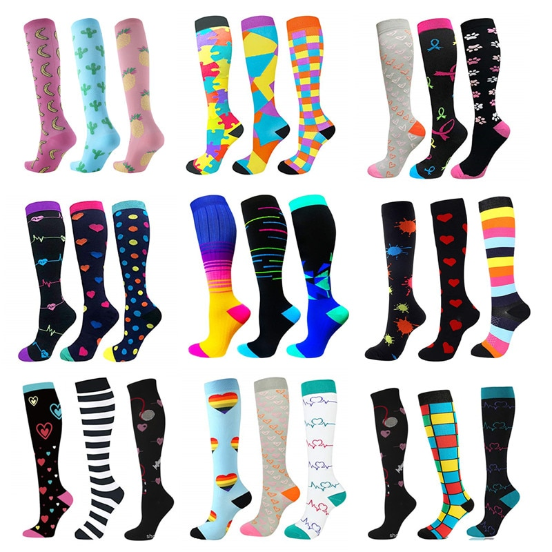 3 Pairs/Pack Compression Socks Knee High Sports Socks 30mmHg Edema Diabetes Varicose Veins Running Men Women Marathon Stocking