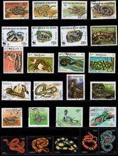 50 unids/lote Tema de sello de serpiente todos diferentes de muchos países NO repetir sellos con marca de correos para recoger