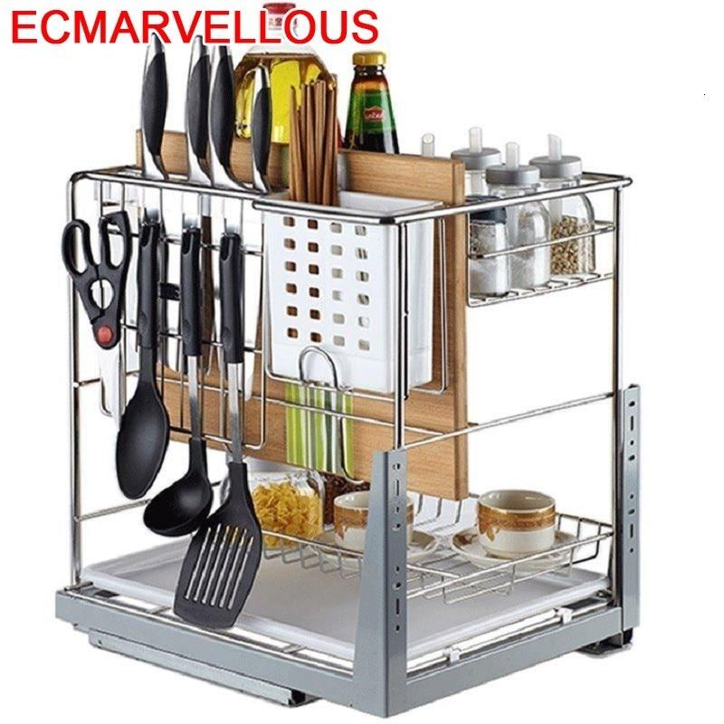 Cesta de almacenamiento Para Armario de cocina, accesorio organizador de acero inoxidable...