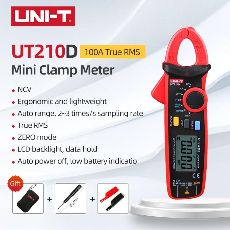 UNI-T UT210D Mini Clamp Meter NCV valores eficaces verdaderos AC/DC voltaje de corriente rango automático VFC capacitancia sin contacto multímetro