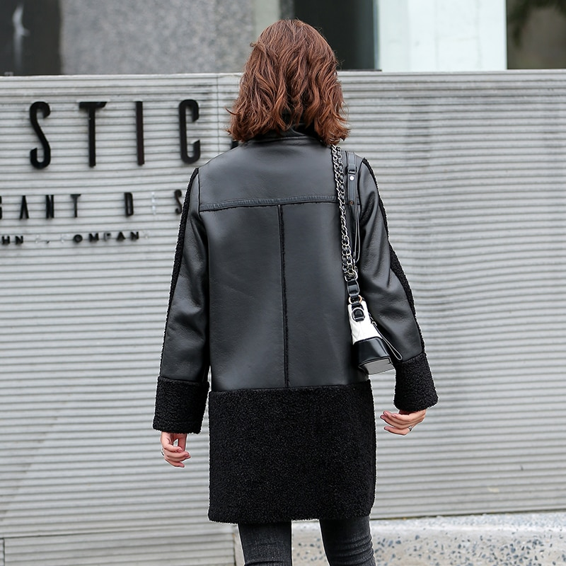 Winter Women Sheepskin Long Coats Thick Eco-leather Lambskin Wool Fur Big Pockets Jackets Splicing Black Motorcycle Outwear 2021 enlarge