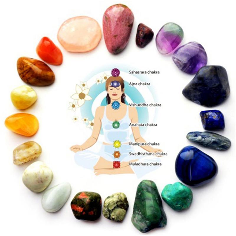 Set de decoración de siete piedras de chakra irregulares, colección de piedra en miniatura, regalos, piedras de masaje, piedra de cristales
