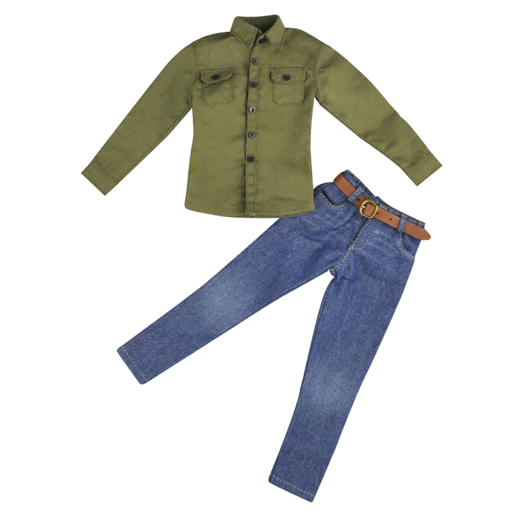 1/6 Scale Army Green Shirt + Jeans Clothes Accessories for 12 Inch  ,  Male Action Figure